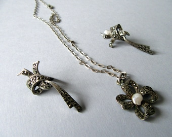 Vintage Marcasite set.Pendant and earrings.