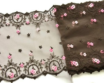 Brown Pink Lace Trim, Double Edged Dark Brown Double Edged Lace, Lingerie, Pink and Brown Roses Trim, Dolls, Professional Costume