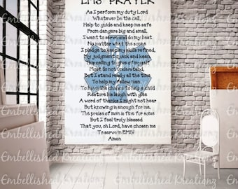 EMS Prayer/Paramedic/'EMS Prayer with Star of Life'/Vinyl Decal/Window Decal/Glass Block/Wall Decal