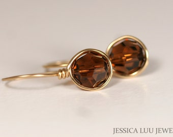 Gold Brown Swarovski Crystal Earrings Wire Wrapped Jewelry Rose Gold Earrings Swarovski Crystal Jewelry Brown Earring Rose Gold Smoked Topaz
