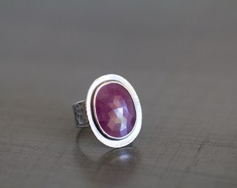 Rose Cut Sapphire Ring in Sterling Silver Cocktail Ring, Pink Sapphire Ring, Raw Sapphire Ring - Size 6.5 - Origins