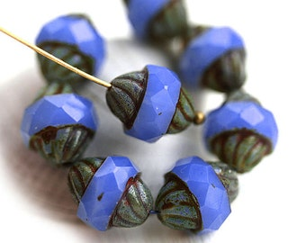 Opal Cornflower Blue turbine beads Picasso Czech glass large bicone beads fire polished faceted - 11x10mm - 2666