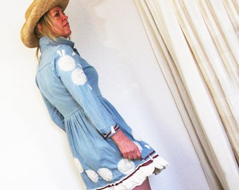 upcycled dress S - M upcycled clothing, denim dress, country, cowgirl . kincaid
