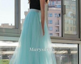 Floor-length tulle skirt fixed waistband with hidden zipper (color - Aquarius)
