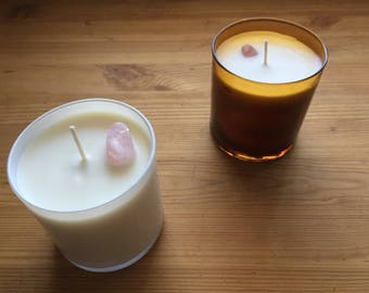 Crystal Candles || Rose Quartz Crystal Set In A 100% Soy Wax Candle, Scented With Essential Oils