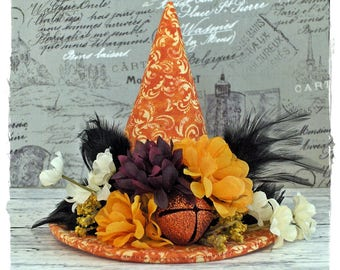 Sale!! Witch Hat Decoration Orange Black and Purple