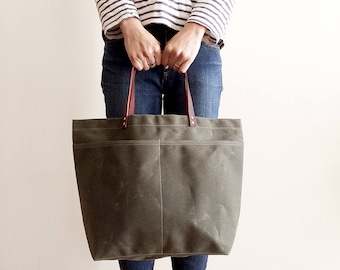 Dark Olive Market Tote, Waxed Canvas Bag, Waxed Canvas Tote, Canvas Tote Bag, Carry All, Diaper Bag, Handbag, Minimalist Style, Simple Tote
