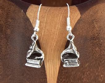 Earrings antique silver Gramophone, music