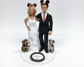 Disney Themed Wedding Cake Topper of Bride Groom and their Pets