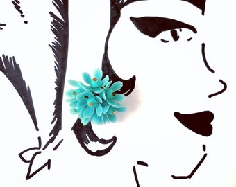 Blue Blossom Vintage Cluster Clip-On Earrings