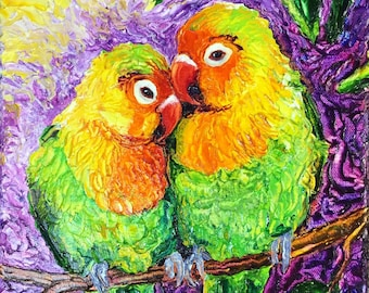 love Birds 9x12x1 3/4 Inch Original Impasto Oil Painting by Paris Wyatt Llanso