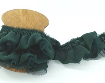 Teal Green - Chiffon Double Ruffled Tulle Embroidery Lace Trim Supplies for baby headbands, garter,  doll dress, costume, home pillow