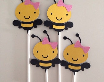 12 Girly Bee Cupcake Toppers | Bee Cupcake Toppers | Bumble Bee | Black and Yellow