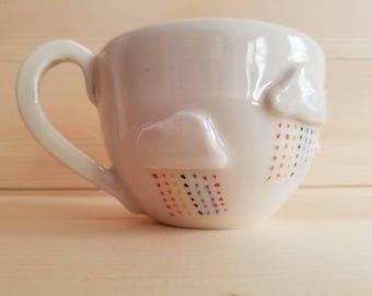 Rainbow cloud mug, rainbow mug, cloud mug, lgbtq mug, rainbow pottery, porcelain mug, kawaii mug, coffee lover mug, handmade ceramic mug,