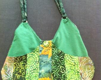 Green patchwork shoulder bag