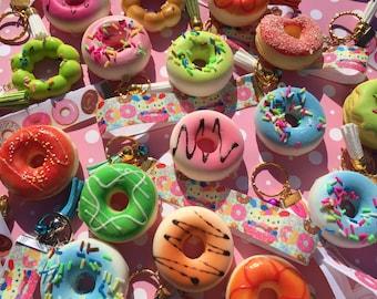 Squishy Donut kawaii squishy keychain lanyard fob cute squishes little girl colours  squishies
