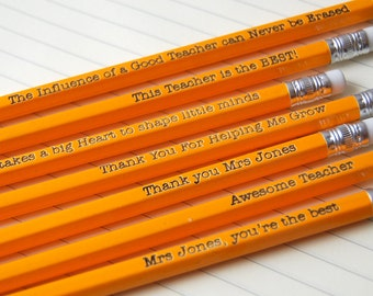 Custom Pencils for Teacher - Personalised from your child - add any wording you'd like across five HB pencils