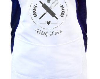 Baked with love apron for women in white, Makes a gift idea for a baker or mom, Personalize your apron with a name.