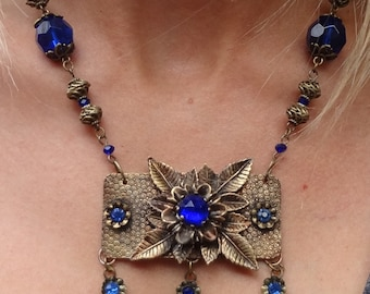 SALE--Vintage Victorian Cobalt Glass Necklace