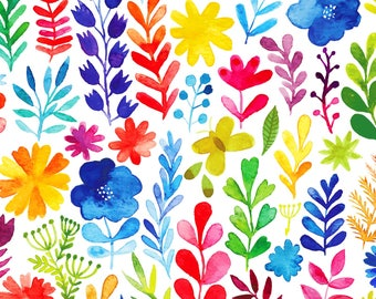 Floral Menagerie - per yard - In the beginning Fabrics by Jason Yenter - bright flowers and foliage on white, watercolor - C