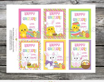 Printable Easter Cards, Easter Bunny Cards, Easter Favor Cards, Classroom Cards, Kids Easter Cards, DIY Easter Basket Cards, Easter Stickers