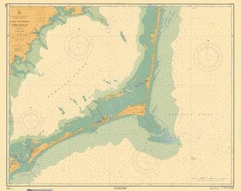 Cape Hatteras Map - Wimble Shoals to Ocracoke Inlet (Blue Colorized) - 1964