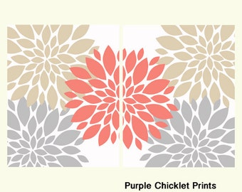 "Gray Coral Beige Flower Bursts Wall Art Set Botanical Art 2 - 11"" x 14"" Prints Fine Art Modern Wall Art Set Prints Home Decor 234"