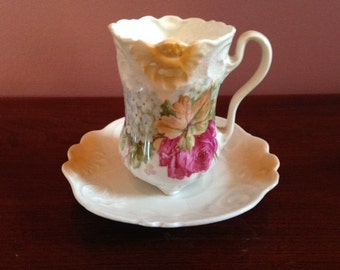 Antique German Chocolate Cup and Saucer Set