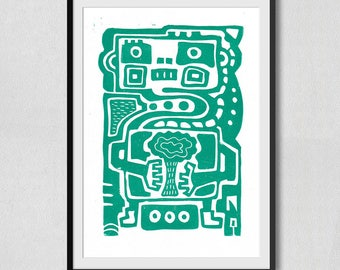 Robot and Nature Linocut Turquoise (210×297mm)