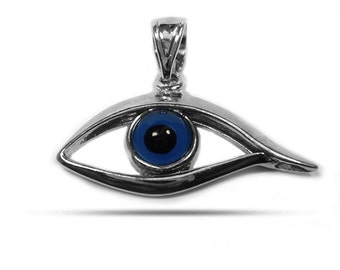 Sterling Silver Rhodium Plated Evil Eye Pendant