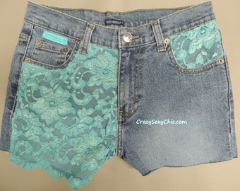 Custom Teal Lace Pocket Shorts size 5 / 6 Women's Hand-Sewn