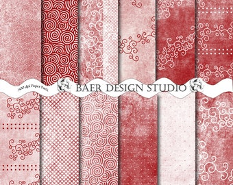 RED DIGITAL PAPER:Distressed Digital Paper, Red Swirl Digital Paper, Red Polka Dot Digital Paper, Red Junk Journal Digital Paper, #14127