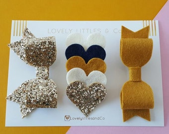 The TALLULAH COLLECTION!  Baby/Girl Mustard, Gold and Navy felt bow and heart clip set