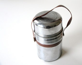 Vintage french thermos / stainless steel / camping / antique French thermos / Marque Deposee PARIS / outdoorsman gift