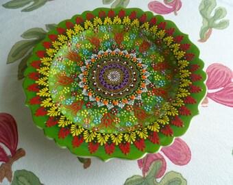 Turkish Ceramic Plate, 12 inch  platter, serving platter, spring green platter, raised design, wall art, wedding gift