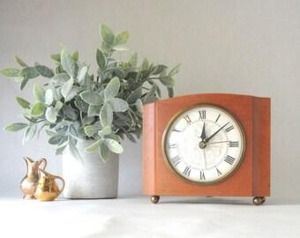 Art Deco Mantel Alarm Clock Westclox Maple Brass Feet Small Size Working