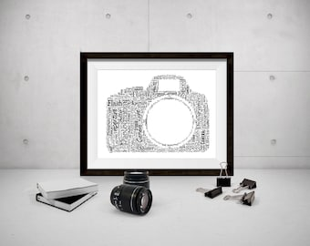 Personalised Camera Photography Word Art Print Bespoke Typography Photographer Dad Grandad Uncle