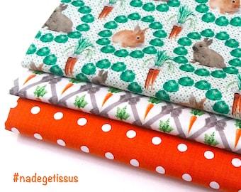 3 coupons fat quarter of 50cmx50 cm - bunnies, carrots, orange peas