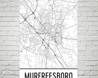 Murfreesboro Map, Murfreesboro Art, Murfreesboro Print, Murfreesboro TN Poster, Murfreesboro Wall Art, Gift, Map of Tennessee, TN Poster