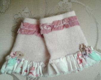 Fingerless Texting Gloves Soft Pink with Floral Ruffles, Burn Out Velvet, and beaded flowers