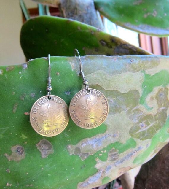 Antique Coin Earrings 1949 Germany Coin Earrings 40s Brass Gold 10 Pfennig Hook Earrings   Dangle Vintage Hook Earrings Hippie Boho Jewelry