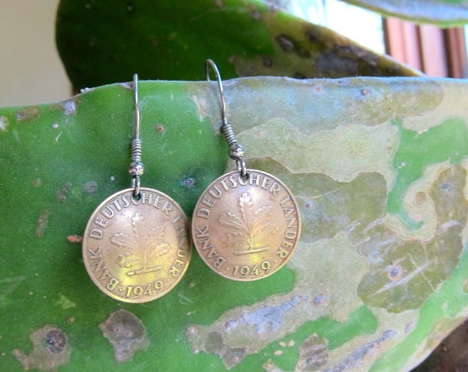 Antique Coin Earrings 1949 Germany Coin Earrings 40s Brass Gold 10 Pfennig Hook Earrings | Dangle Vintage Hook Earrings Hippie Boho Jewelry
