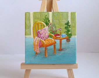 Time For a Break Tiny Original Acrylic Painting on Canvas, Miniature Painting, Original Artwork, Fine Art, Small Canvas, Art & Collectibles