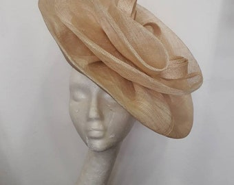 Bibi natural ivory wedding, rose swirl, sisal, fascinator wedding or ceremonies
