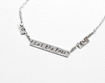 Set the Pace necklace,  Runner's necklace , gift for runners , marathon necklace , hand stamped bar necklace , marathon jewelry, 26.2 , 13.1