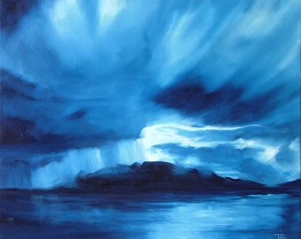 Arran Rains mounted print of an original oil painting by Tracy Butler