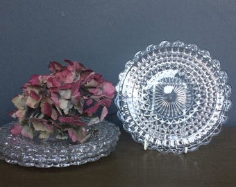 Set of Four Vintage Glass Plates