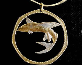 Flying Fish Sea Animal Cut Coin Pendant Necklace Gold and Silver Plated Barbados One Dollar