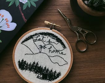 Small Forest Cabin Embroidery, Hand Lettering with Thread, Wall Hanging, Hand Embroidery, Fiber Art