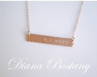 ON SALE Roman Numeral Necklace, Gold Bar Necklace, Date Necklace, Personalized Necklace,  Wedding Day, Mothers Necklace, Anniversary Gift